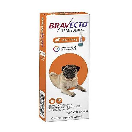 Bravecto Antipulgas e Carrapatos Transdermal para Cães entre 4,5 a 10KG - 250MG