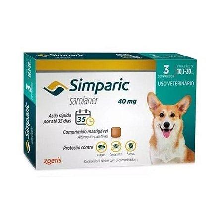 Simparic Antipulgas 40mg - Para Cães de 10,1 a 20Kg - 3 Com