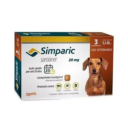 Simparic Antipulgas 20mg - Para Cães de 5,1 a 10Kg - 3 Com.
