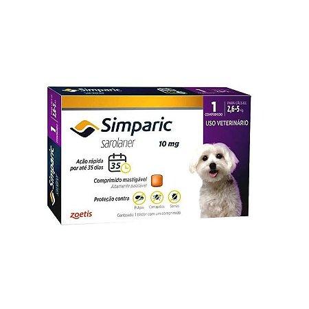 Simparic Antipulgas 10mg - Para Cães de 2,5 a 5Kg