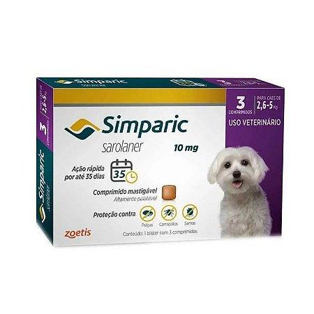 Simparic Antipulgas 10mg - Para Cães de 2,5 a 5Kg - 3 Com.