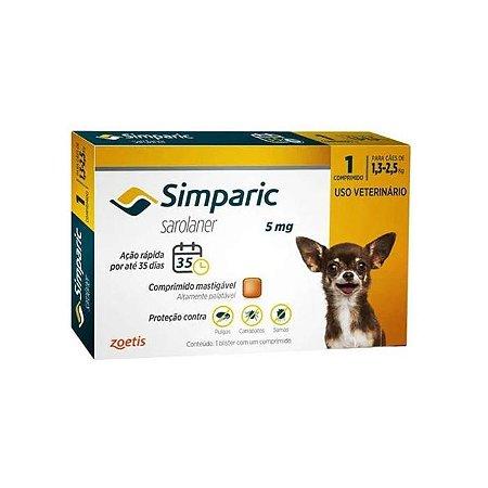 Simparic Antipulgas 5mg - Para Cães 1,3 a 2,5Kg