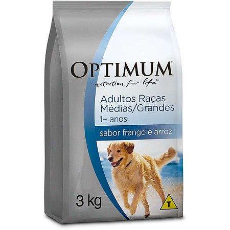 Ração Optimum - Frango e Arroz Para Cães Adultos - Raças Médias e Grandes - 3kg