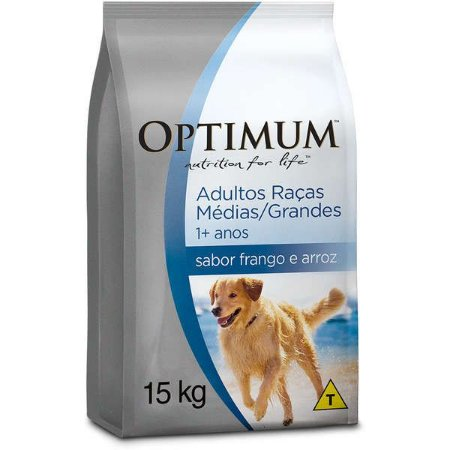 Ração Optimum - Frango e Arroz - Para Cães Adultos Raças Médias e Grandes - 15kg