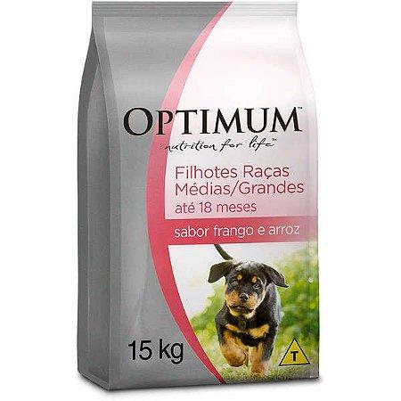 Ração Optimum - Frango e Arroz - Para Cães Filhotes Raças Médias e Grandes - 15Kg