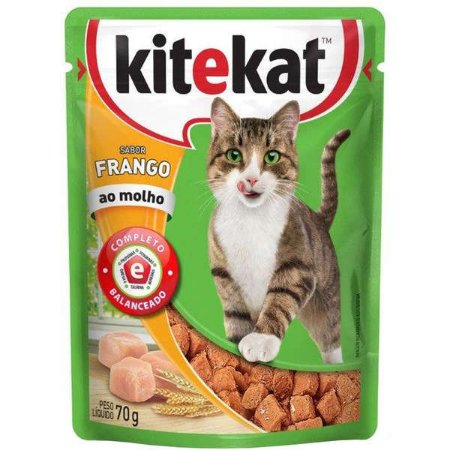 Ração Úmida Kitekat - Sachê de Frango para Gatos Adultos - 70g