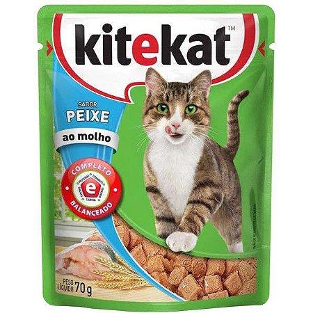 Ração Úmida Kitekat - Sachê de Peixe para Gatos Adultos - 70g