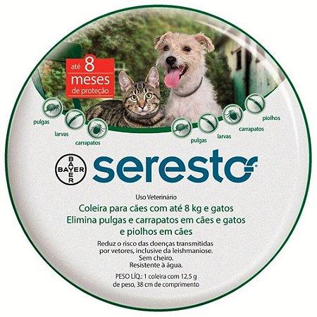 Coleira Antipulgas Seresto Bayer - Para Cães e Gatos Até 8kg