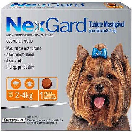 Antipulgas e Carrapatos NexGard - Para Cães de Raças Pequenas de 2 a 4Kg - 1 Tablete