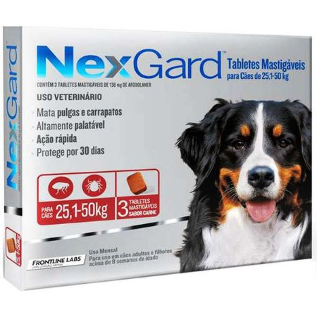 Antipulgas e Carrapatos NexGard - Para Cães de Raças Gigantes de 25,1 a 50Kg - 3 Tabletes