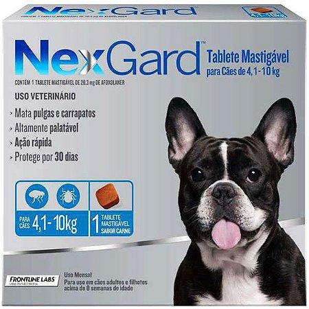 Antipulgas e Carrapatos NexGard - Para Cães de Raças Médias de 4,1 a 10Kg - 1 Tablete
