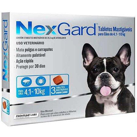 Antipulgas e Carrapatos NexGard - Para Cães de Raças Médias de 4,1 a 10Kg - 3 Tabletes