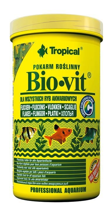 Ração Tropical Bio-Vit - Para Peixes Herbívoros e Onívoros - Pote 50g