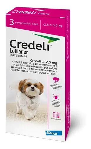 Antipulgas e Carrapatos Elanco Credeli - Para Cães de 2,5 a 5,5Kg