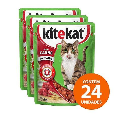 Ração Kitekat - Sachê de Carne para Gatos Adultos 70g  -  Kit com 24 Unidades