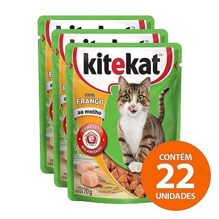 Ração Úmida Kitekat - Sachê de Frango para Gatos Adultos 70g - Kit com 22 Unidades
