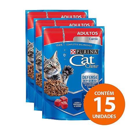 Sachê Ração Úmida Nestlé Purina Cat Chow de Carne Ao Molho 85g para Gatos Adultos - Kit com 15 Unidades