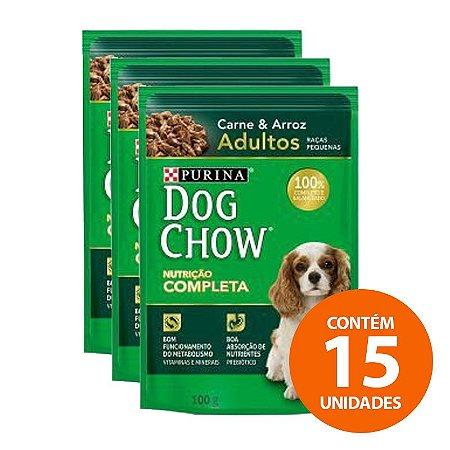 Ração Úmida Nestlé Purina Dog Chow - Sachê de Carne e Arroz Para Cães Adultos de Raças Pequenas 100g - Kit com 15 Unidades