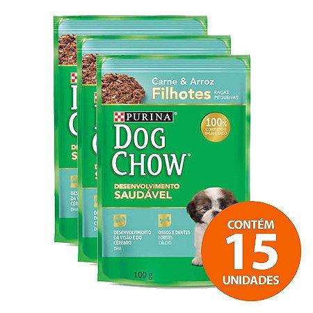 Ração Úmida Nestlé Purina Dog Chow - Sachê de Carne e Arroz Para Cães Filhotes 100g - Kit com 15 Unidades