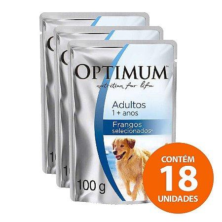Ração Úmida Optimum - Sachê de  Frango - Para Cão Adulto de Raças Grande 100g - Kit com 18 Unidades