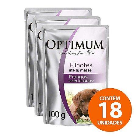 Ração Úmida Optimum - Sachê Frango - Para Cães Filhotes 100g - Kit com 18 Unidades