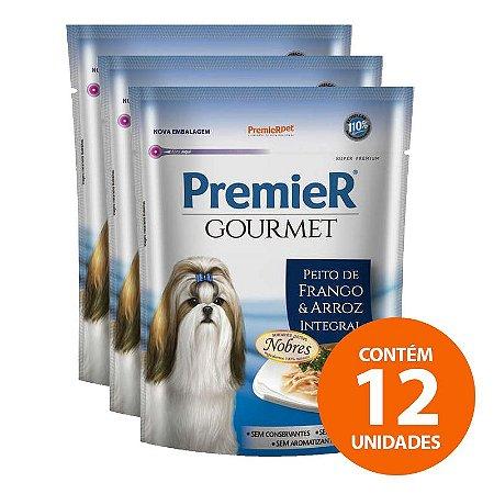 Ração Úmida Premier Pet Gourmet - Sachê Frango - Para Cães Adultos 100g - Kit com 12 Unidades