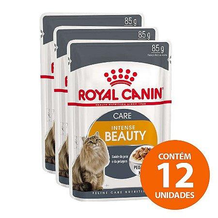 Ração Úmida Royal Canin - Sachê Feline Intense Beauty - Para Gatos 85g - Kit com 12 Undades
