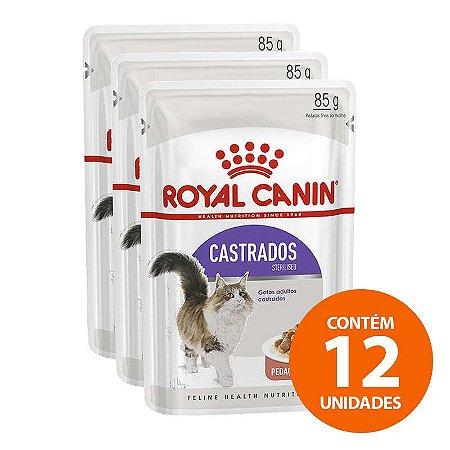 Ração Úmida Royal Canin - Sachê Feline Sterilised - Para Gatos Castrados 85g - Kit com 12 Unidades