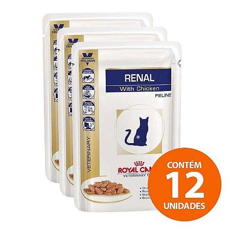 Ração Úmida Royal Canin - Sachê Feline Veterinary Diet Renal Frango - Para Gatos com Doença Nos Rins 85g - Kit Com 12 Unidades