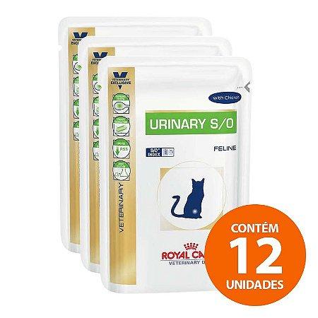Ração Úmida Royal Canin - Sachê Feline Veterinary Diet Urinary S/o - Para Gatos com Cálculos Na Urina 100g - Kit com 12 Unidades