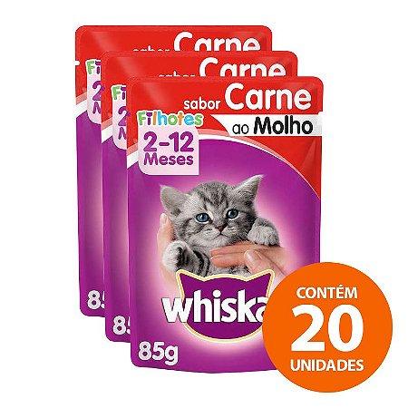 Ração Úmida Whiskas - Sachê Para Gatos Filhotes 85g - Kit com 20 Unidades