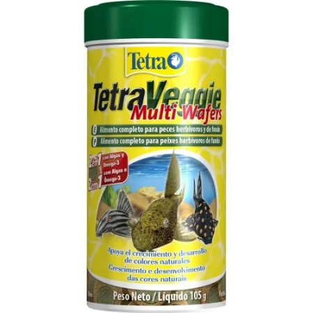 Ração Tetra Veggie Multi Wafers 250ml – 105g