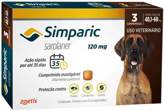 Simparic Antipulgas 80mg - Para Cães de 40,1 a 60Kg - 3 Com.