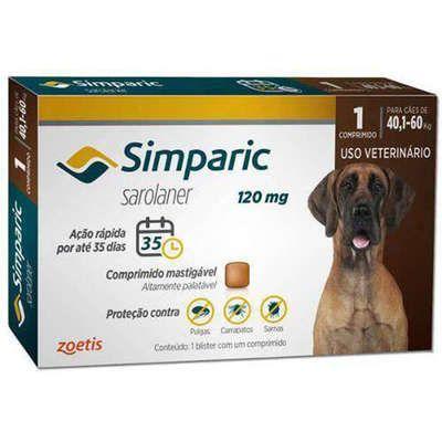 Simparic Antipulgas 80mg - Para Cães de 40,1 a 60Kg - 1 Com.