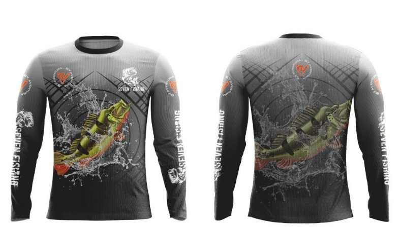 Camisa de Pesca Manga Comprida Seven Fishing com Estampa Tucunaré Açu - Gola Careca