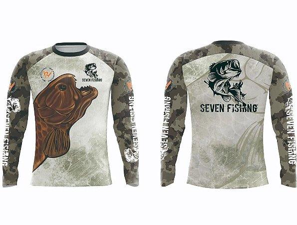 Camisa Manga Comprida Seven Fishing com Estampa Traíra - Gola Careca