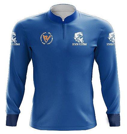 Camisa de Pesca Manga Comprida Seven Fishing Azul - Gola com Ziper