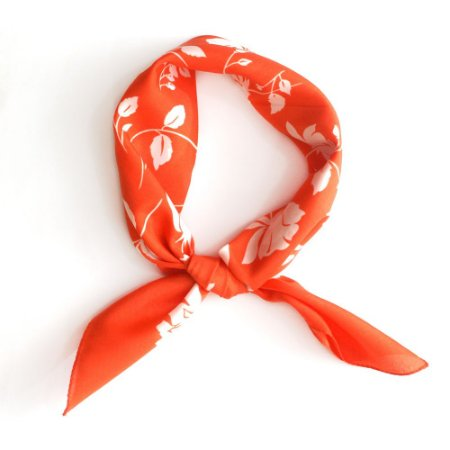 Lencinho floral laranja e branco