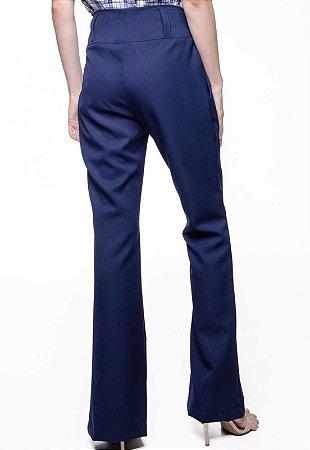 Calça Crepe Flare Cintura Alta Alfaiataria Elastano Azul Marinho