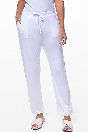 Calça Jogger Pijama Bolsos Cordao Malha Branco