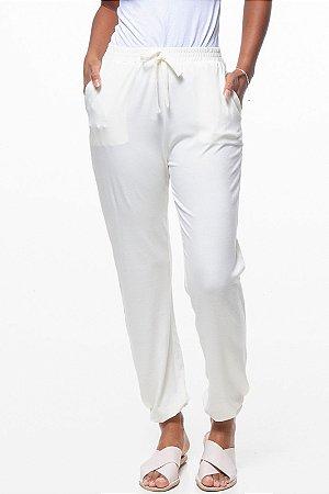 Calça Jogger Pijama Bolsos Cordao Viscose Elastano Off White