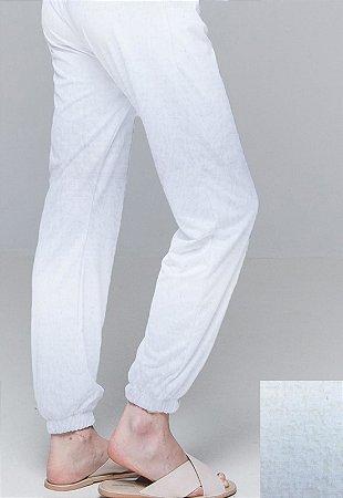 Calça Jogger Pijama Cordao Bolso Malha Viscose Branco Com Forro