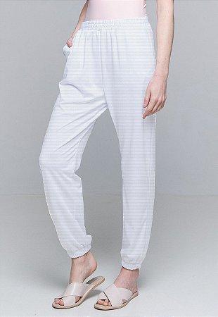 Calça Jogger Pijama Cordao Bolso Malha Elastano Branco Listra Com Forro
