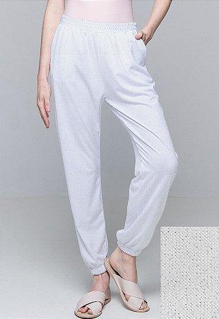 Calça Jogger Pijama Cordao Bolso Malha Elastano Branco Brillho