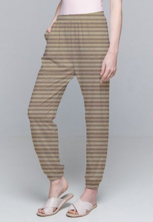Calça Jogger Pijama Cordao Bolso Malha Elastano Listra Marrom Com Forro