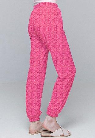 Calça Jogger Pijama Cordao Bolso Malha Viscose Pink Com Forro