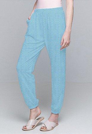 Calça Jogger Pijama Cordao Bolso Malha Viscose Turquesa Com Forro