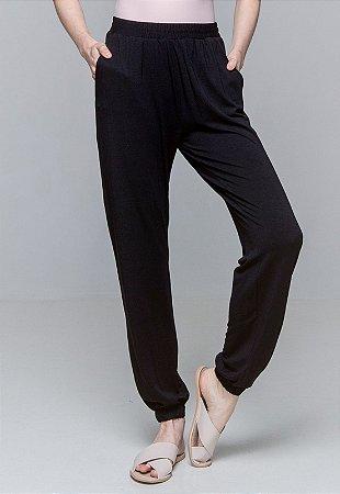 Calça Jogger Pijama Bolsos Cordao Malha Elastano Preto