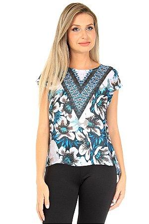Blusa Tunica Estampada Azul