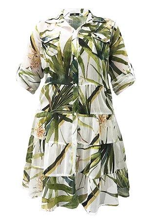 Vestido Chemise Evasê Folha Verde Fundo Off
